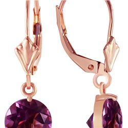 Genuine 3.1 ctw Amethyst Earrings 14KT Rose Gold - REF-34M3T