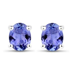 0.66 ctw Tanzanite Earrings 14K White Gold - REF-15R4K