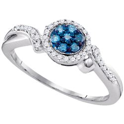Round Blue Color Enhanced Diamond Cluster Ring 1/4 Cttw 10kt White Gold