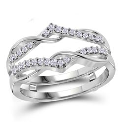 Diamond Wrap Ring Guard Enhancer Wedding Band 1/4 Cttw 10kt White Gold