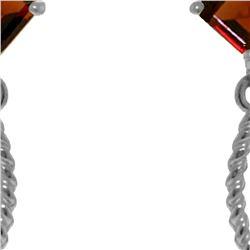Genuine 3.5 ctw Garnet Earrings 14KT White Gold - REF-33Y8F