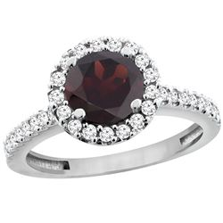 1.39 CTW Garnet & Diamond Ring 14K White Gold - REF-60W9F