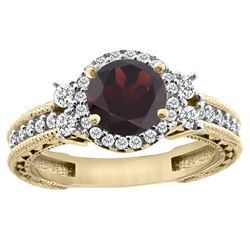 1.46 CTW Garnet & Diamond Ring 14K Yellow Gold - REF-77W9F
