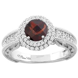 1.46 CTW Garnet & Diamond Ring 14K White Gold - REF-86Y6V