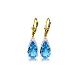 Genuine 12 ctw Blue Topaz Earrings 14KT Yellow Gold - REF-57P6H