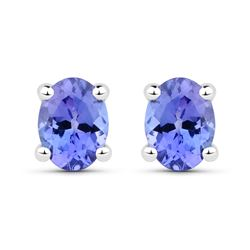 0.40 ctw Tanzanite Earrings 14K White Gold - REF-9F6W