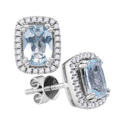 Cushion Aquamarine Solitaire Diamond Stud Earrings 1-7/8 Cttw 14kt White Gold