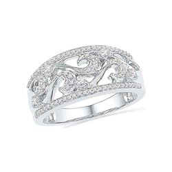 Diamond Filigree Band Ring 1/3 Cttw 10kt White Gold