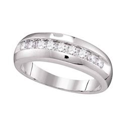 Mens Diamond Single Row Wedding Anniversary Band Ring 1/2 Cttw 10kt White Gold