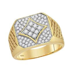 Mens Diamond Square Cluster Textured Ring 3/4 Cttw 10kt Yellow Gold