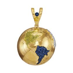 Mens Round Blue Color Enhanced Diamond Globe Planet Earth Charm Pendant 1.00 Cttw 10kt Yellow Gold
