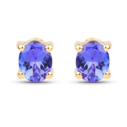 0.70 ctw Tanzanite Earrings 14K Yellow Gold - REF-14W8M
