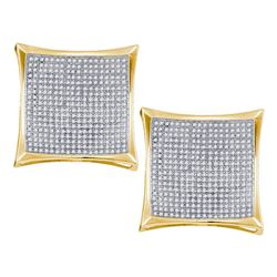 Diamond Square Kite Cluster Screwback Earrings 2.00 Cttw 10kt Yellow Gold