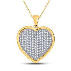 Diamond Heart Cluster Charm Pendant 3/4 Cttw 10kt Yellow Gold
