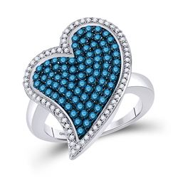 Round Blue Color Enhanced Diamond Large Heart Cluster Ring 1-3/8 Cttw 10kt White Gold