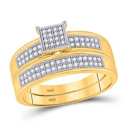 Diamond Bridal Wedding Engagement Ring Band Set 1/5 Cttw 10kt Yellow Gold