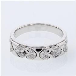 0.12 CTW Diamond Band Ring 18K White Gold - REF-48W4H
