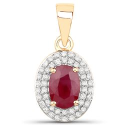 1.12 ctw Ruby & White Diamond Pendant 14K Yellow Gold - REF-44Y4N