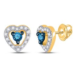 Round Blue Color Enhanced Diamond Heart Stud Earrings 1/5 Cttw 10kt Yellow Gold