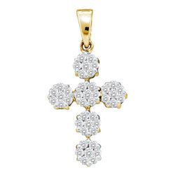 Diamond Cluster Cross Religious Pendant 1/2 Cttw 14kt Yellow Gold
