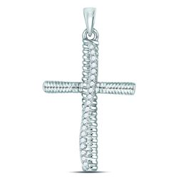 Diamond Textured Cross Faith Pendant 1/6 Cttw 10kt White Gold