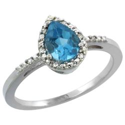1.55 CTW Swiss Blue Topaz & Diamond Ring 10K White Gold - REF-20A7X