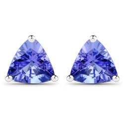 0.86 ctw Tanzanite Earrings 14K White Gold - REF-23W2M
