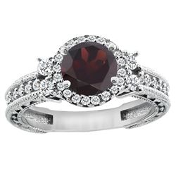 1.46 CTW Garnet & Diamond Ring 14K White Gold - REF-77M9A