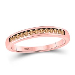 Round Brown Diamond Anniversary Ring 1/4 Cttw 10kt Rose Gold