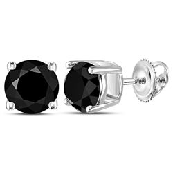 Unisex Round Black Color Enhanced Diamond Solitaire Stud Earrings 4.00 Cttw 10kt White Gold