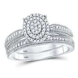 Diamond Oval Bridal Wedding Engagement Ring Band Set 1/3 Cttw 10kt White Gold