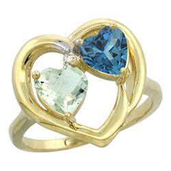 2.61 CTW Diamond, Amethyst & London Blue Topaz Ring 14K Yellow Gold - REF-34K2W