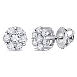 Diamond Flower Cluster Earrings 1/4 Cttw 14kt White Gold