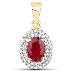 1.08 ctw Ruby & White Diamond Pendant 14K Yellow Gold - REF-38M2R