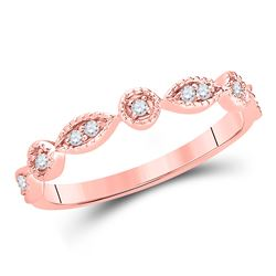 Diamond Classic Stackable Band Ring 1/10 Cttw 14kt Rose Gold