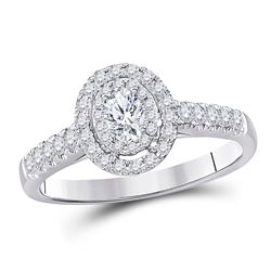 Oval Diamond Solitaire Bridal Wedding Engagement Ring 1/2 Cttw 14kt White Gold