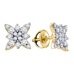 Diamond Cluster Stud Screwback Earrings 3/4 Cttw 14kt Yellow Gold