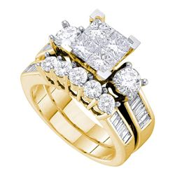 Diamond Bridal Wedding Engagement Ring Band Set 3.00 Cttw 14kt Yellow Gold