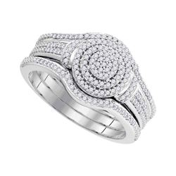 Diamond 3-Piece Bridal Wedding Engagement Ring Band Set 1/3 Cttw 10kt White Gold