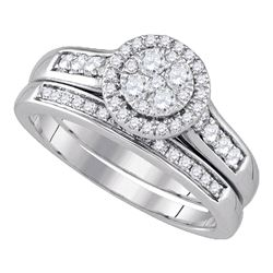 Diamond Halo Bridal Wedding Engagement Ring Band Set 5/8 Cttw 14kt White Gold