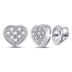 Diamond Heart Cluster Screwback Earrings 1/20 Cttw 10kt White Gold