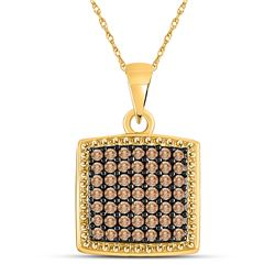 Round Brown Diamond Square Pendant 1/2 Cttw 10kt Yellow Gold