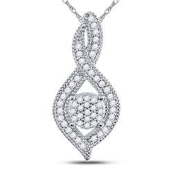 Diamond Nested Cluster Pendant 1/6 Cttw 10kt White Gold