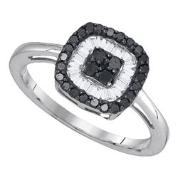 Round Black Color Enhanced Diamond Concentric Square Cluster Ring 3/8 Cttw 10kt White Gold
