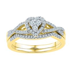 Diamond Heart Cluster Bridal Wedding Engagement Ring Set 3/8 Cttw 10k Yellow Gold