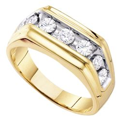Mens Diamond Squared Edges Single Row Band Ring 1.00 Cttw 10kt Yellow Gold