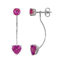 Genuine 4.55 ctw Pink Topaz Earrings 14KT White Gold - REF-30H6X