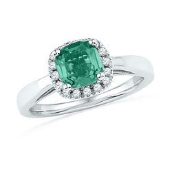 Lab-Created Emerald & Diamond Ring 1-1/2 Cttw 10k White Gold