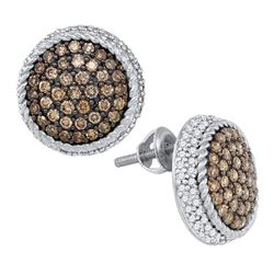 Round Brown Diamond Roped Cluster Screwback Earrings 1-1/3 Cttw 10kt White Gold