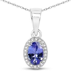 0.48 ctw Tanzanite & Diamond Pendant 14K White Gold - REF-27M2R